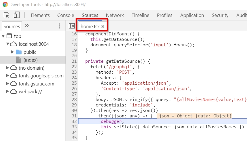 Enable chrome source maps setting for debugging source script ... on